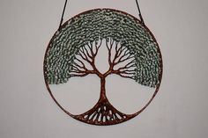 Tree Of Life Wall Decor Hanging, Gemstone Wire Tree Sculpture Green Aventurine, White Howlite