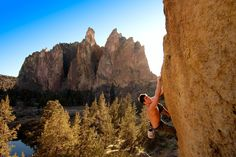 Photo of rock climber playing around at Smith Rock State Park in Terrebonne Oregon.