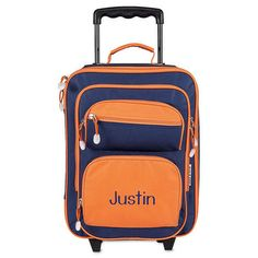 Navy and Orange Rolling Luggage $49.99