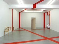 Parallelareal Curry Lines, site specific installation, vinyl tape, Galerie Nordenhake, Stockholm, 2010.