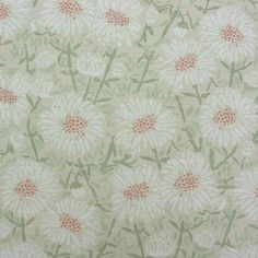 Pretty linen floral curtain fabric with white daisies