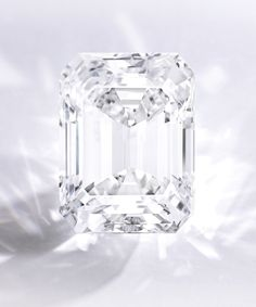 A Spectacular Emerald-Cut Diamond – The emerald-cut diamond weighing 100.20 carats, mounted in platinum