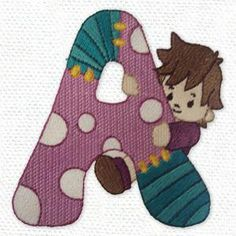 """""""Cuddly Kiddies Alphabet"""" comes with 26 capital letters with a patchwork look, and cute kids shown with each letter!"""