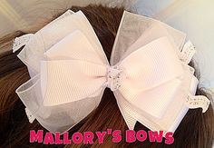 White Hair Bow Exclusively by Mallory's Bows White Hair Bows, Handmade Hair Bows, Princess Birthday, Party, Parties