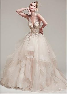 3848a6a98e Gorgeous Tulle & Satin V-Neck A-Line Wedding Dresses With Embroidery &  Beadings