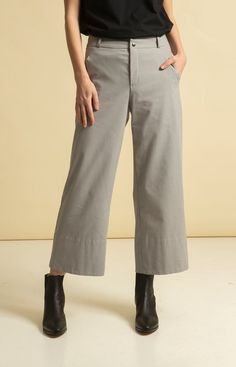 Wide leg, cropped trousers with pockets on the sides. Made from 100 % recycled materials in Loksa, Estonia. Wrap Jumpsuit, Cropped Trousers, Sustainable Fashion, Wide Leg, Legs, Grey, Skirts, Pants, Collection