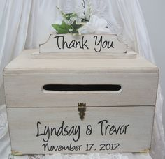 Large Rustic Wedding Card Box Keepsake Chest Handpainted Antique White…