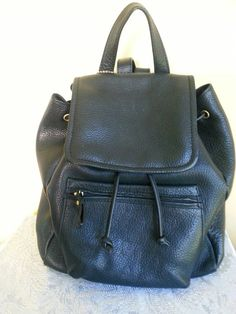 Black Leather Backpack shoulder bag pebbled leather by Liz Claiborne Amazing Leather $59