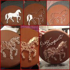 create a stall plate: wood ($7), acrylic paint($.89), steel nails (3x$1.25), string (2x$.30), and puffy paint (~$1). about $15 total! no more $30 engraved name plates for your horse and stand out!