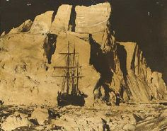 The Endurance, presented by Frank Hurley in front of the huge 'Rampart' berg.   Reposted from The James Caird Society.