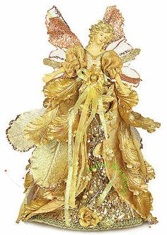 """12"""" BEAUTIFUL TREE TOPPER MANTEL CABBAGE ANGEL-GOLD A11284"""