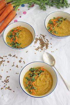 Crema de lentejas y zanahorias