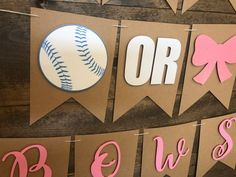 Baseball Or Bows Banner Gender Reveal Banner Baby Shower Baseball Gender Reveal, Twin Gender Reveal, Gender Reveal Banner, Gender Reveal Decorations, Baby Gender, Reveal Parties, Boy Shower, Party Supplies, Baby Announcements