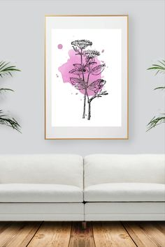 Pink Plant, Colorful Wall Art, All Print, Decoration, Watercolor Art, Wall Art Prints, Wall Decor, Unique Jewelry, Handmade Gifts
