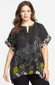 Citron Print Button Back Silk Jacquard Tunic (Plus Size) available at #Nordstrom  $172