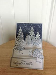 Handmade Christmas Card Kit Snowy Blue Sky Night Made with Mostly Stampin Up P | eBay