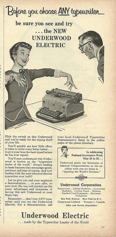 Before you choose any typewriter... vintage 1950s office ads