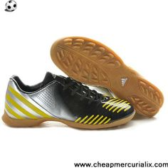 finest selection 04c12 46e0e Cheap Discount Adidas Predator Absolado LZ TRX Astro Turf Trainers Black  Silver Yellow Soccer Shoes On
