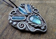 Labradorite Aqua Aura Quartz Necklace by EnchantedEvolution #necklaces #clay #pendant #gemstone #jewelry #fairy #bohemian #hippie #gift #magic #metaphysical #crystals #healing #energy
