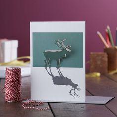 Papercut Reindeer Pop Out Christmas Card. Reindeer Christmas Card. Green Stag Greetings. Deer. Xmas. Seasons Greetings. Plain xmas card
