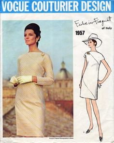 Vogue 1957; Vogue Couturier Design; Circa 1968; Designer: Federico Forquet; Description: One-Piece Evening Dress. Straight loose-fitting dress with diagonal seaming front and back, has 7/8th length sleeves, or short sleeves with gussets. Back zipper closing in diagonal seam. (Middle front, middle back and sleeves on bias).