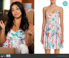 Jane's floral dress on Jane the Virgin.  Outfit Details: https://wornontv.net/62450/ #JanetheVirgin