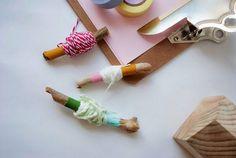 Ideas DIY con palos: Cómo organizar los hilos