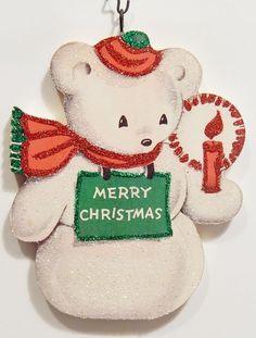 TEDDY BEAR SNOWMAN w/ CANDLE * Glittered CHRISTMAS ORNAMENT * Vtg Card Img