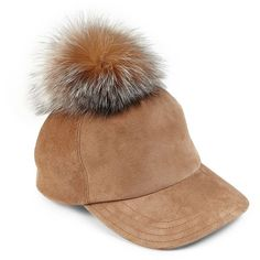 Lola Fox Fur Pom-Pom Baseball Cap ($200) ❤ liked on Polyvore featuring accessories, hats, apparel & accessories, cognac, brimmed hat, baseball cap, pom pom baseball cap, fox baseball hats and crown hat