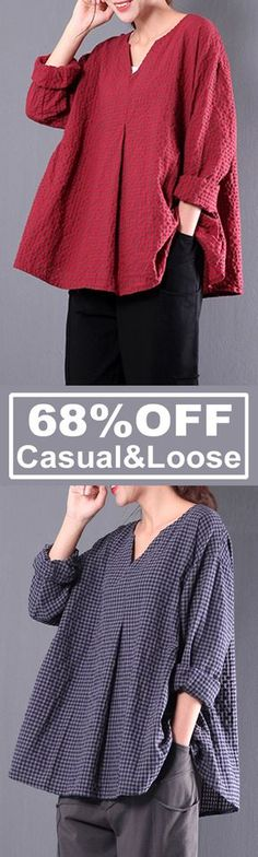 68%OFF&Free shipping. Casual&Loose, Vintage Blouses, Retro Women Plaid Long Sleeve. Size: S-5XL. Color: Green, Navy, Red. Shop now~ #superbowlpartyfood #easyhairstyles #healthysnacks #womensfashion #apartmentdecorating #shorthairstyles #masterbedroomideas