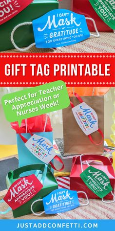Looking for an adorable gift tag idea for teacher appreciation week, end of the year, or nurses week? I've got you covered! This fun face mask gift tag printable is available in my Just Add Confetti Etsy shop. Pair this printable tag with any teacher gift, treat, candy, cold drink, or small token of thanks! Simply print, cut, and tape any ribbon on the sides to give the illusion of a face mask. Be sure to head to justaddconfetti.com for even more simple teacher gift ideas.
