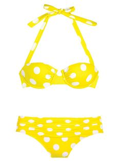 She wore a yellow polka dot bikini for the first time today.
