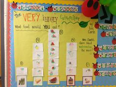 Little Miss Glamour Goes to Kindergarten: Mister Seahorse {Eric Carle} Caterpillar Bulletin Board, Hungry Caterpillar Activities, Very Hungry Caterpillar, Kindergarten Bulletin Boards, Kindergarten Lesson Plans, Kindergarten Reading, Kindergarten Crafts, Language Activities, Sequencing Activities