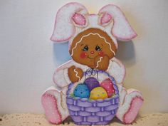 HP Gingerbread Easter bunny with basket of eggs SHELF SITTER hand painted USA