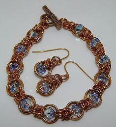 Hand-made Solid Brass Chain Maille & Swarovski bracelet & earrings set in Jewellery & Watches | eBay