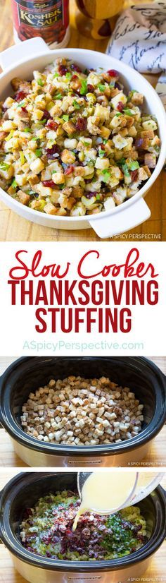 Make room in your oven for other dishes! Moist and Fluffy Slow Cooker Thanksgiving Stuffing Recipe on http://ASpicyPerspective.com