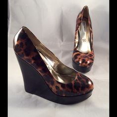 NWOT Steve Madden wedges. Animal print wedges. Heel is about 6 inch including a 1.5 inch platform. Steve Madden Shoes Wedges