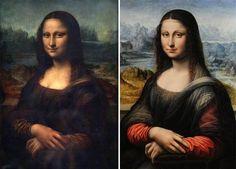 """Vista comparativa de las dos Giocondas. Un libro de 320 páginas, titulado """"Mona Lisa, la versión anterior"""", reúne las pruebas, según sus autores, que demuestran que esta versión anterior ha sido pintada por el maestro italiano."""