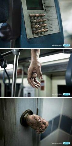 警示我們:為健康,勤洗手! 的創意廣告