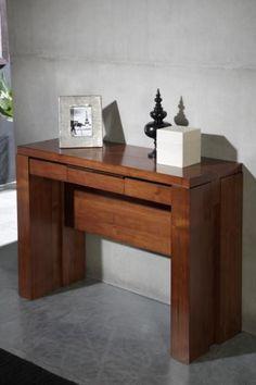 Muebles de madera maciza en paraiso materas rosario for Mesa consola extensible