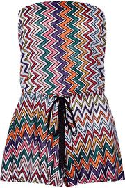 Missoni Metallic crochet-knit playsuit
