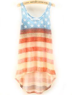 Blue Red Striped Stars Print Dipped Hem Vest US$22.95