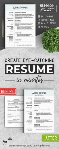 Modern Resume Template Professional Resume Template for Word and