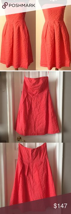 J.Crew Dress BNWOT BNWOT coral strapless dress. Interior support strap plus light boning in bodice for added structure. Also has discreet side pockets!  Accepting offers! J. Crew Dresses Strapless