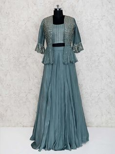 Shop Teal green satin party lehenga choli for pretty womens online from India. Party Wear Indian Dresses, Indian Wedding Gowns, Indian Fashion Dresses, Designer Party Wear Dresses, Indian Gowns Dresses, Party Wear Lehenga, Dress Indian Style, Wedding Dresses For Girls, Indian Designer Outfits