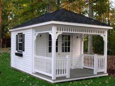 8×12 Hip Roof Shed Plans & Blueprints For Cabana Style Shed - Ornate white porch, hip roof - shedconstructionplans.com