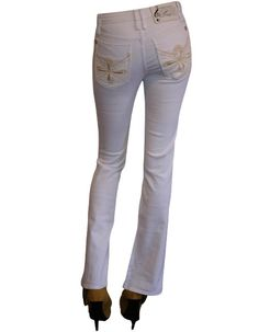 Basic Stretch Boot Cut Fit White Man Made Leather Back Pockets Jeans- 98% Cotton 2% Spandex. Soft, Great Fit. Shop by price, color, and more. Get the best sales for luxury designer jeans. Denim Secret sells only luxury denim designed by Maxime Cossoguy.