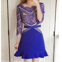 Blue stitching lace dress amazing colour combination and lovely print. Sexy Dresses, Short Beach Dresses, Short Mini Dress, White Maxi Dresses, Maxi Dress With Sleeves, Little Dresses, Chiffon Dress, Fashion Dresses, Prom Dresses