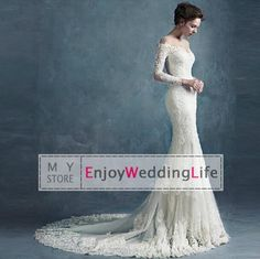 Wholesale Mermaid Wedding Dresses - Buy 2015 Elegant Mermaid Wedding Dresses Sheer Long Sleeves Lace Applique Beaded Chapel Train Bridal Gowns With Buttons Back, $169.46 | DHgate