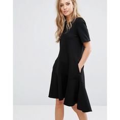 Warehouse Flippy Hem Ponte Dress (4.445 RUB) ❤ liked on Polyvore featuring dresses, black, short front long back dress, high low dresses, hi low dress, ponte knit dress and short in front long in back dress